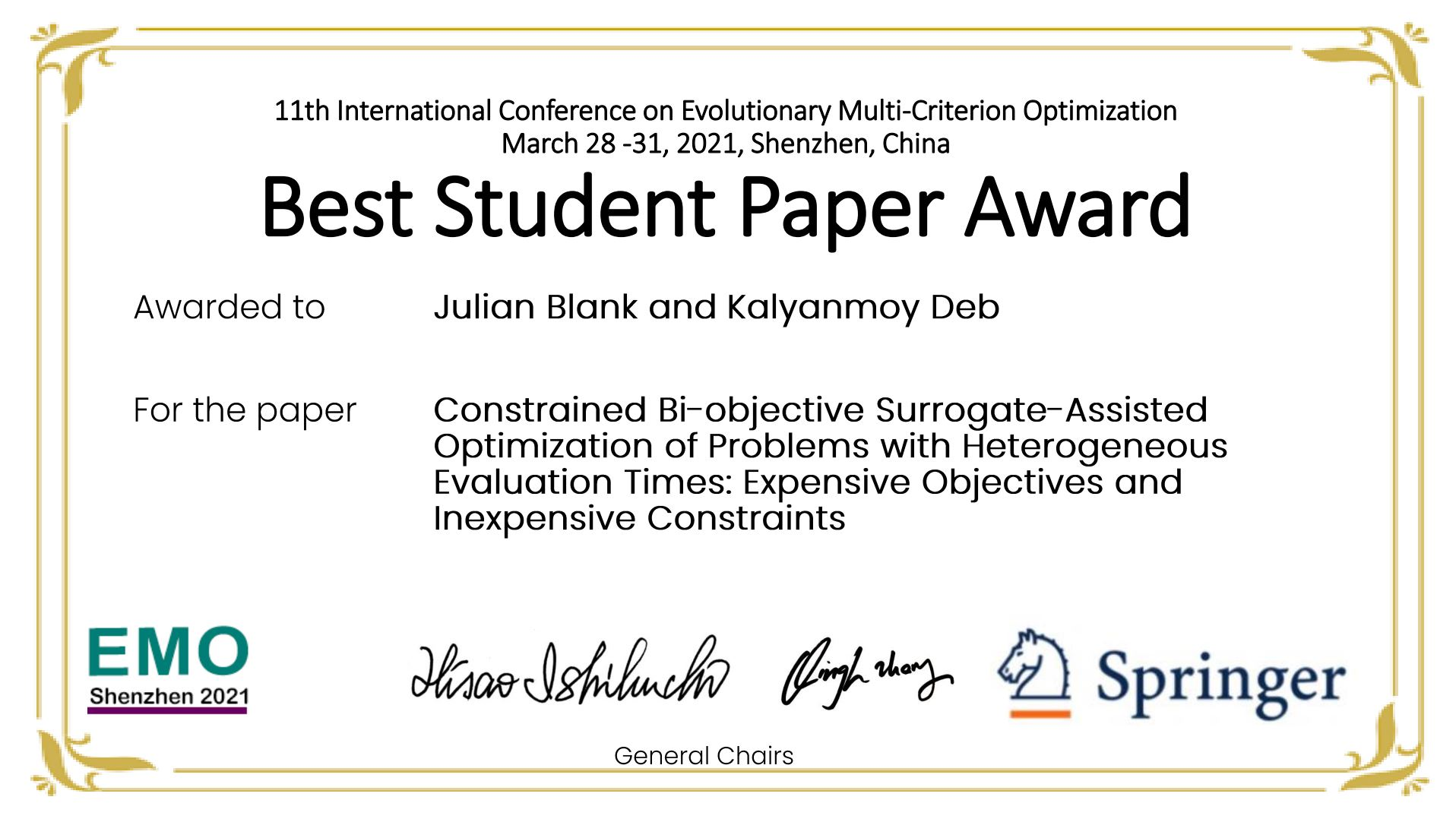 Constrained Bi-objective Surrogate-Assisted Optimization best paper award